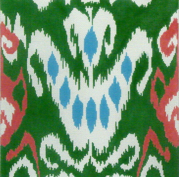 IKAT Square and 8 Blue Spots, Green, Coral and Aqua   (Handpainted by Kate Dickerson)