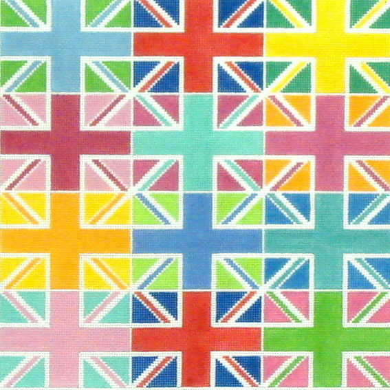 Union Jack Multi Color Blocks  (handpainted by Kate Dickerson)