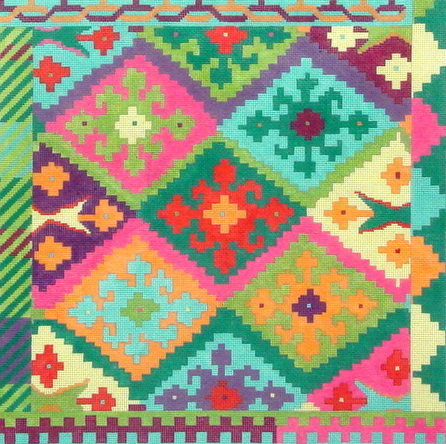 Kilim Square w/Stepped Diamonds, Circus Palette  (Handpainted by Kate Dickerson)