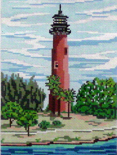Jupiter Lighthouse (stitch painted by Needle Crossings)