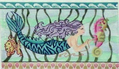 Mermaid & Seahorse    (handpainted by Breda Stofft)