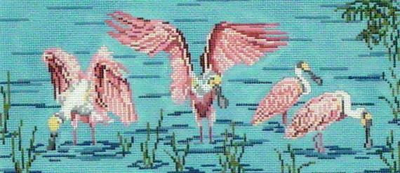 Roseate Spoonbills on Water   (handpainted by Needle Crossing)