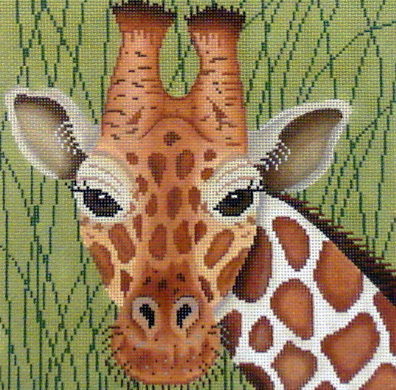 Giraffe in Grasses      (Handpainted by JP Needlepoint)
