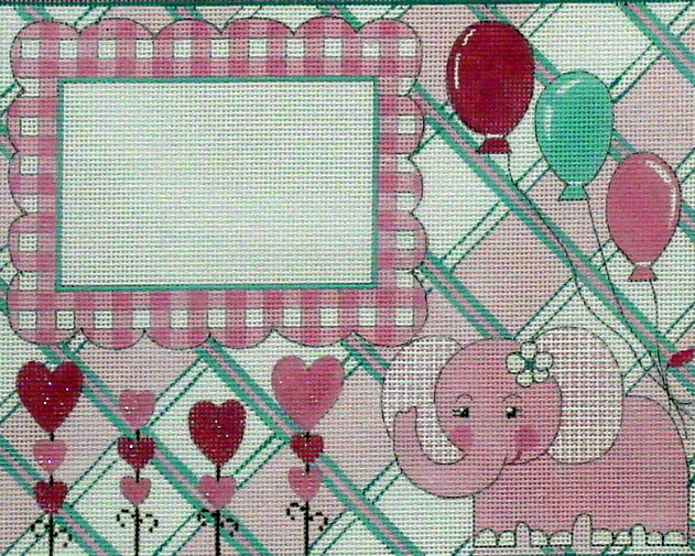 Pink Elephant Birth Announcement   (Handpainted by Alice Peterson & Company)