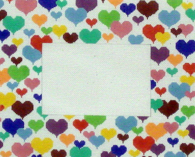 Happy Hearts Picture Frame      (hand painted from JP Needlepoint Designs)