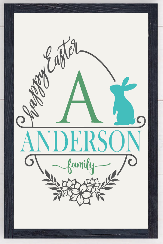 Framed Happy Easter personalized Farmhouse Sign 00001
