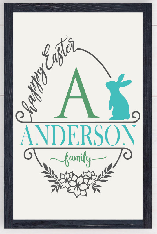 Framed Happy Easter personalized Farmhouse Sign