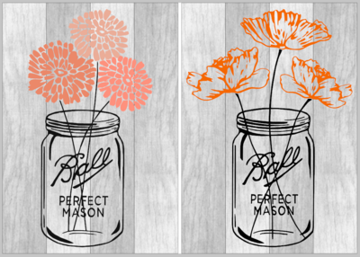 Mason Ball Jar with Flowers