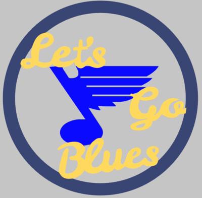 Let's Go Blues Wood Door Hanger