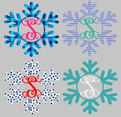 Snowflake with Initial Wood Door Hanger