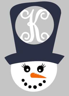 Snowman Hat with Initial Door Hanger