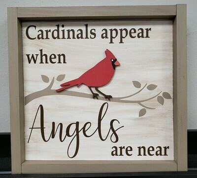 Cardinals appear when Angels are near (framed) with 3D bird