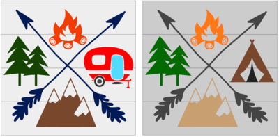 Camping Icons Camper or Tent