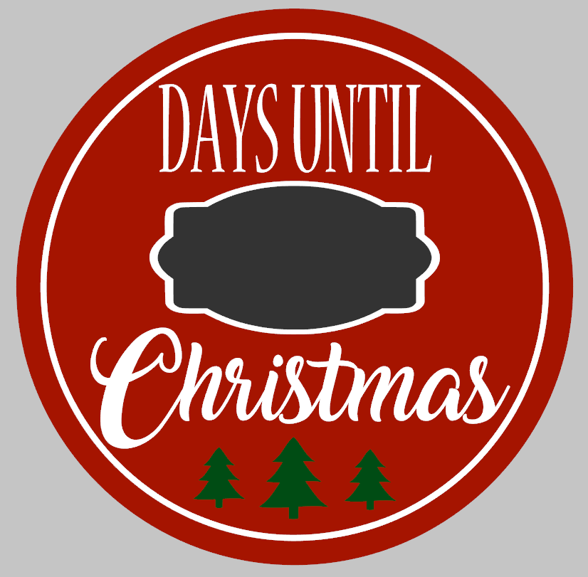Days Until Christmas Countdown.Round Days Til Christmas Countdown
