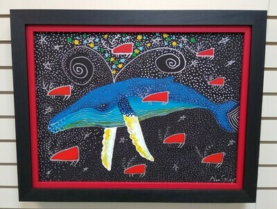 Humpback Swimming in the Milky Way, (With Red Caribou)