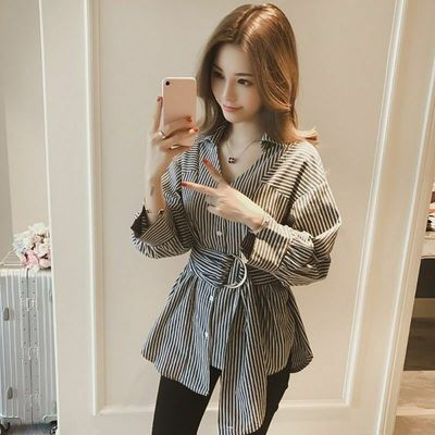 T-shirt Blouse With Belt/Camisa Dama Korean Style