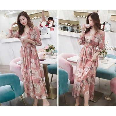 Long Maxi Dress Floral Print/ Vestido Ropa Coreana Korean Style