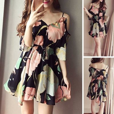 Floral Dress Chiffon/ Ropa Coreana Korean Style