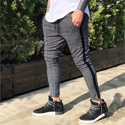 Casual Pants Slim Fit Plaid/Pantalon Korean Style