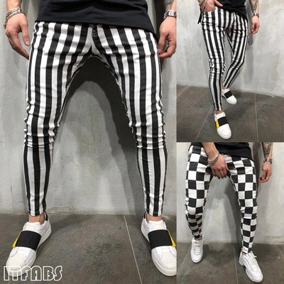 Slim Striped Plaid Black White Pants/Pantalon Korean Style