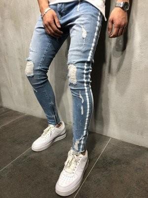 Jeans Side White Striped Distressed/Pantalon Korean Style