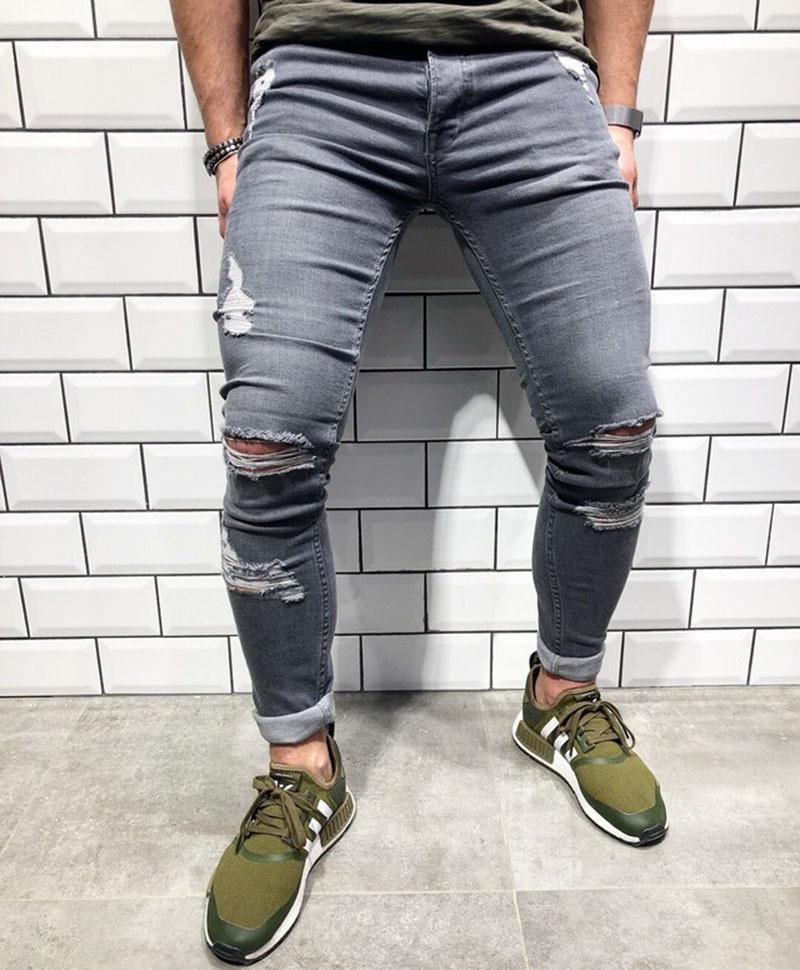 Men Destroyed Ripped Slim Pants/Pantalon Korean Style