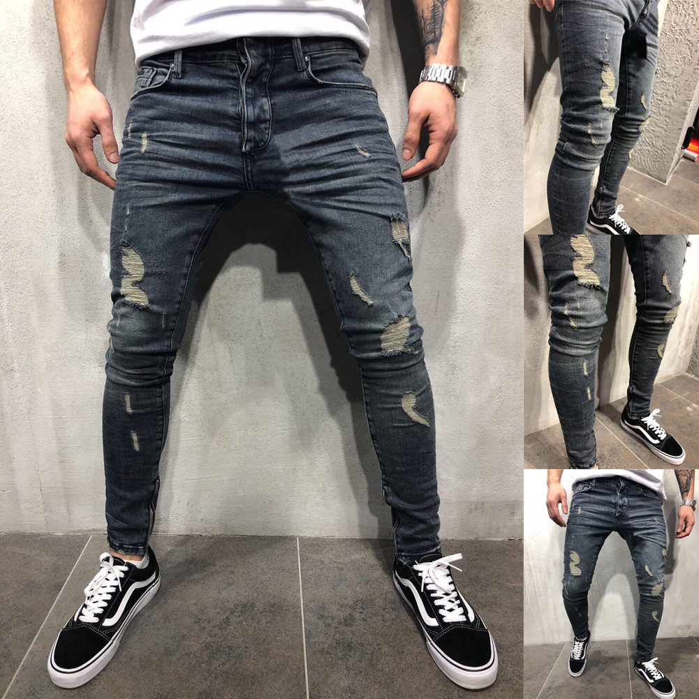 Men Denim Skinny Ripped Jeans/Pantalon Korean Style