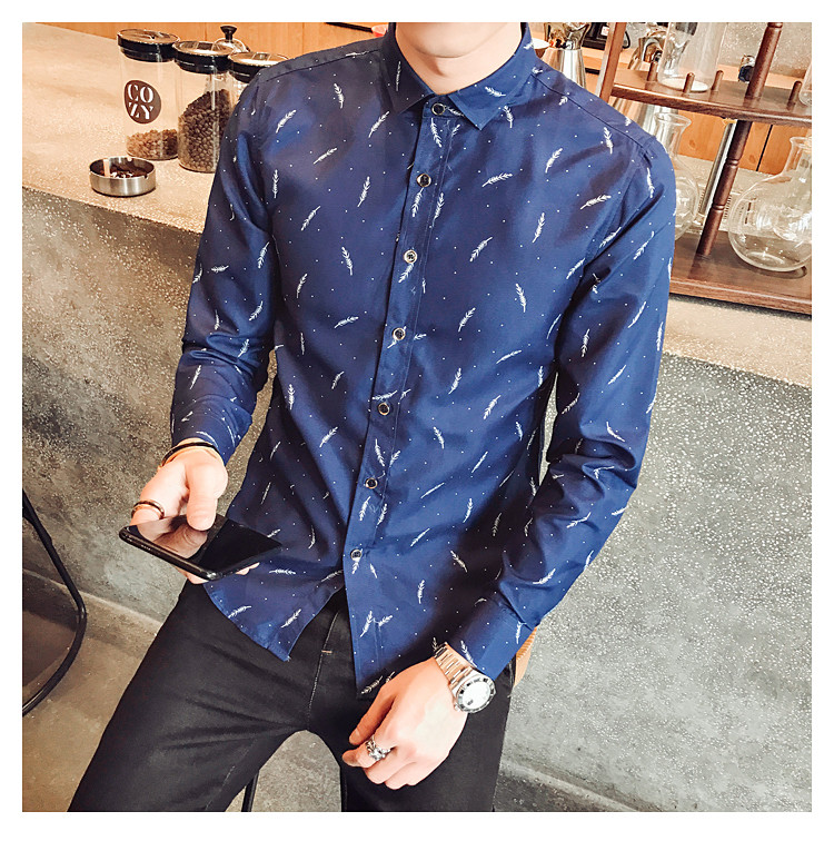 Printed Slim Shirt/Camisa Korean Style