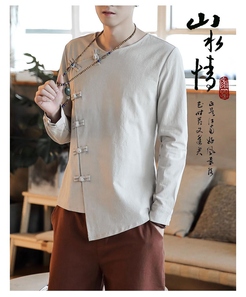 Men Cotton & Lined Long Sleeve Shirt/Camisa Korean Style