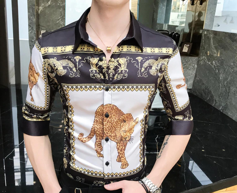 Leopard Men Short Sleeve Shirt/Camisa Korean Style