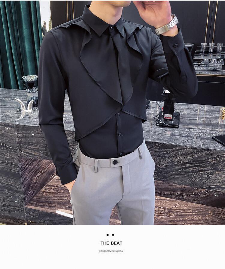 Lotus Leaf Men Shirt Casual Slim Fit / Camisa Korean Style