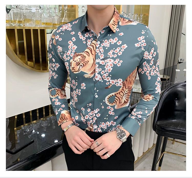 Gold Tiger Print Shirt /Camisa Korean Style