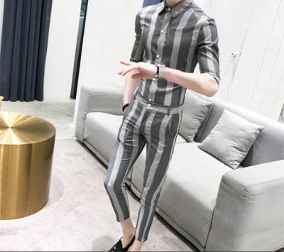 Suit Men Summer Grey Stripe /Suit Korean Style