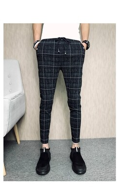 Men Casual grid Pants/Pantalon Korean Style