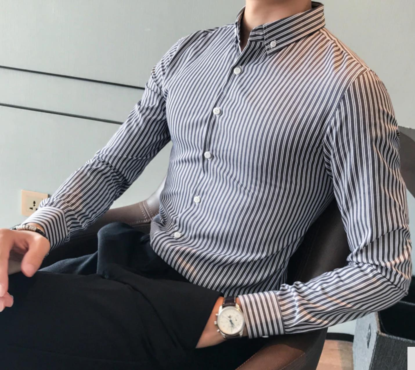 Slim Fit Striped Formal Shirt / Camisas Korean Style