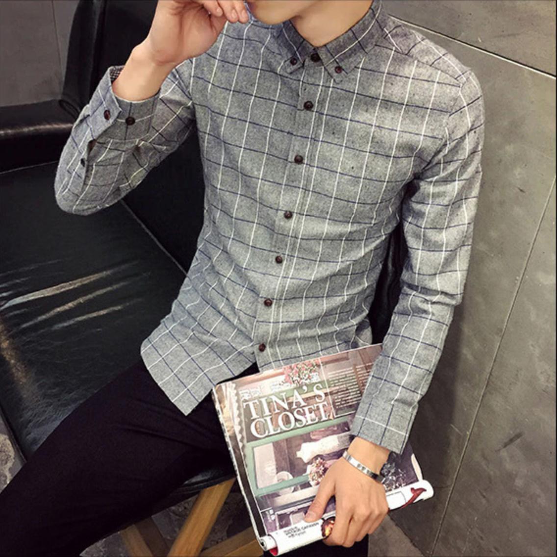 Slim Fit Long Sleeve Plaid Shirt / Camisas Korean Style