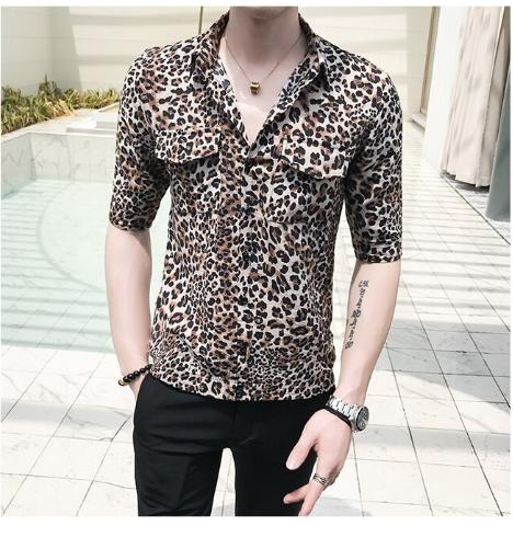 Leopard Print Front Double Pocket Slim Fit Shirt / Camisas Korean Style