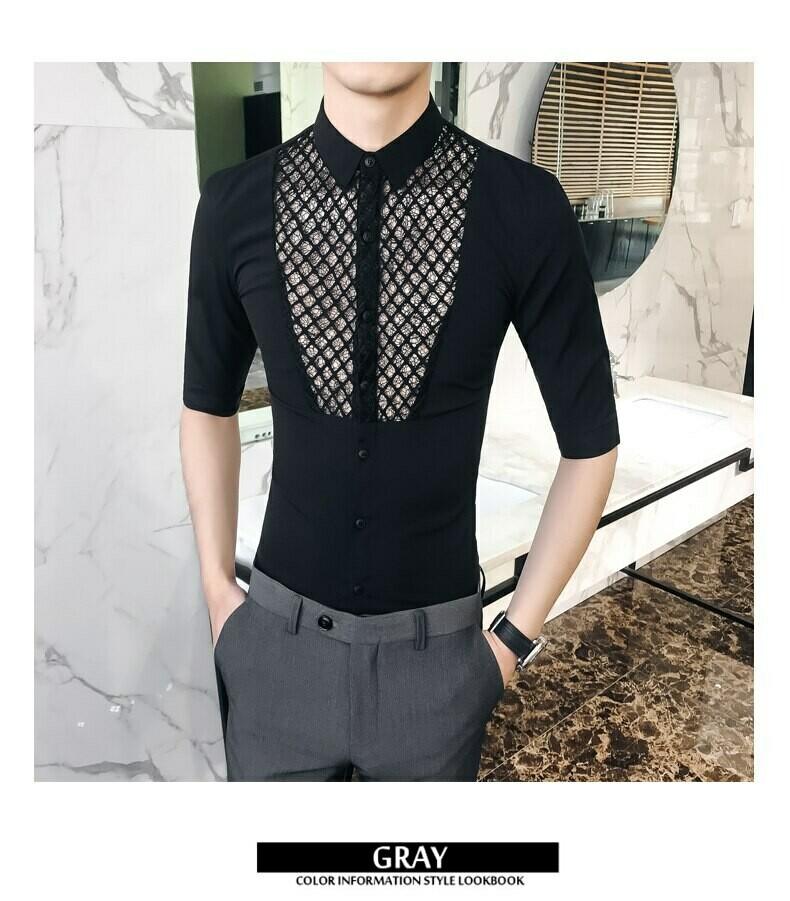 Men Casual Shirt Short Sleeve/Camisa Korean Style