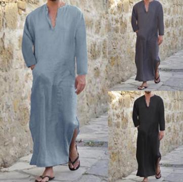 Men Shirt Cotton V-neck Long Sleeve  /Camisa Verano  Korean Style