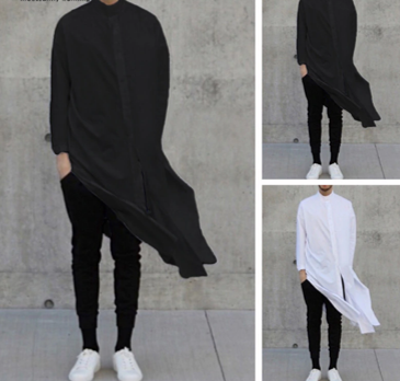 Fashion Men Long Shirt Solid   /Camisa Verano  Korean Style
