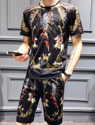 Luxury Gold Print Summer   / conjunto  Ropa Coreana Hombre