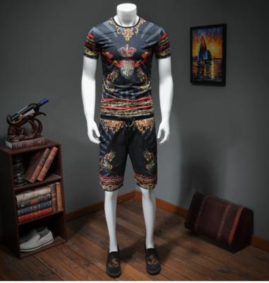 Designer Print Men Shorts Summer Set Men Casual Suits/ conjunto  Ropa Coreana Hombre