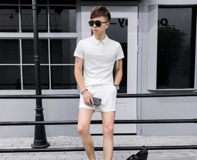 T Shirt Suit Hit Color Slim Fit Polo Shorts 2q/  Ropa Coreana Hombre