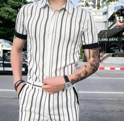 Striped Funny Shirt Men Slim Fit Tops Casual /  Ropa Coreana Hombre