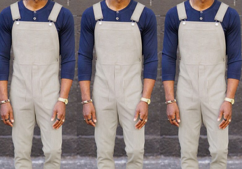 Jumpsuit Pockets Solid Color /  Ropa Coreana Hombre