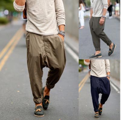 Streetwear Mens Straight Pants Button Solid/Pantalon Korean Style