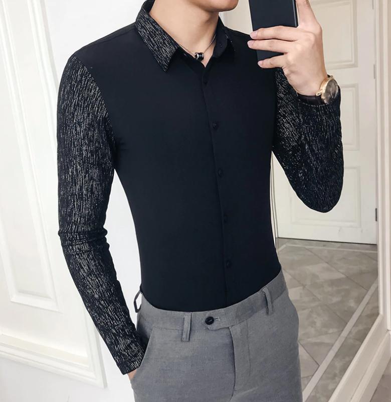 Camisa Lisa con Manga de Retazo Slim Fit Hombre Korean Style