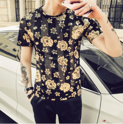 Camisa Floral Slim Fit Hombre Korean Style