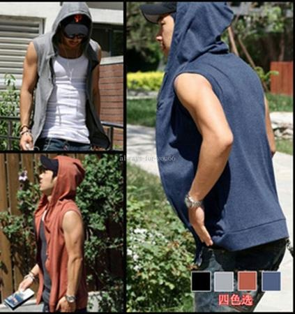 Casual Slim Fit Hoody Sleeveless T-shirt / Summer Korean Style