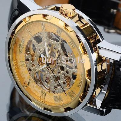 Reloj Vintage Cool Skeleton Mens Automatic Mechanical